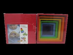 Cubo madera para bebes de colores Waldort Grimms